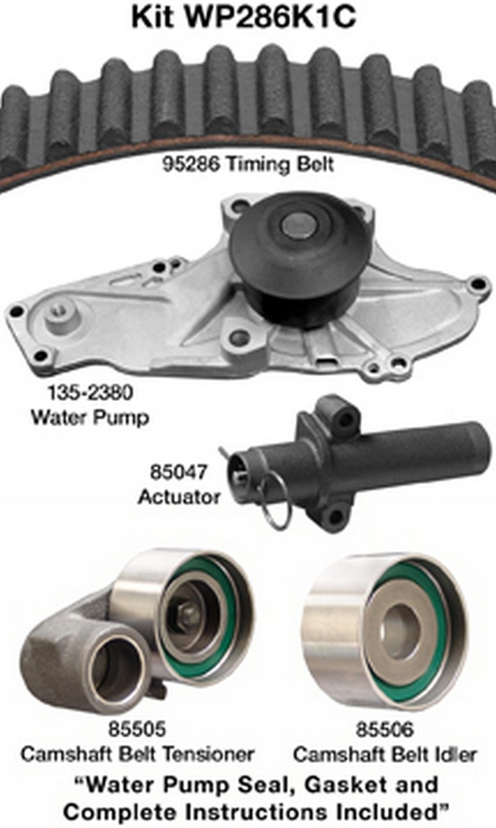 Engine Timing Belt Kit with Water Pump GATES TCKWP329