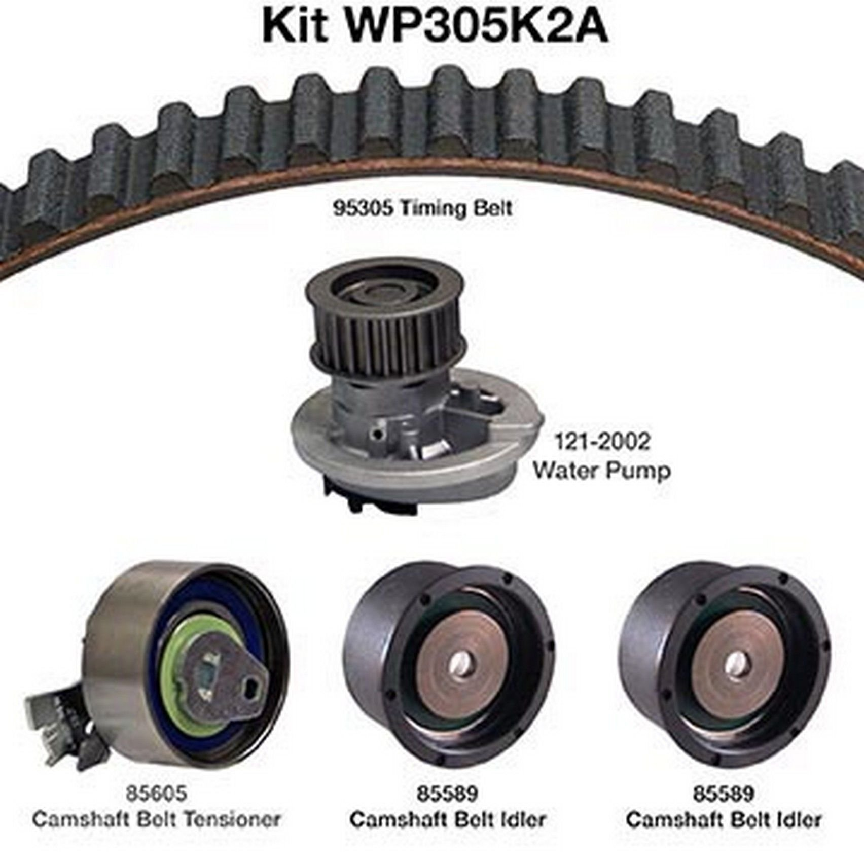 1998 isuzu amigo engine timing belt kit with water pump 4 cyl 2 2l (dayco  wp305k2a) includes: water pump, timing belt, camshaft belt tensioner,