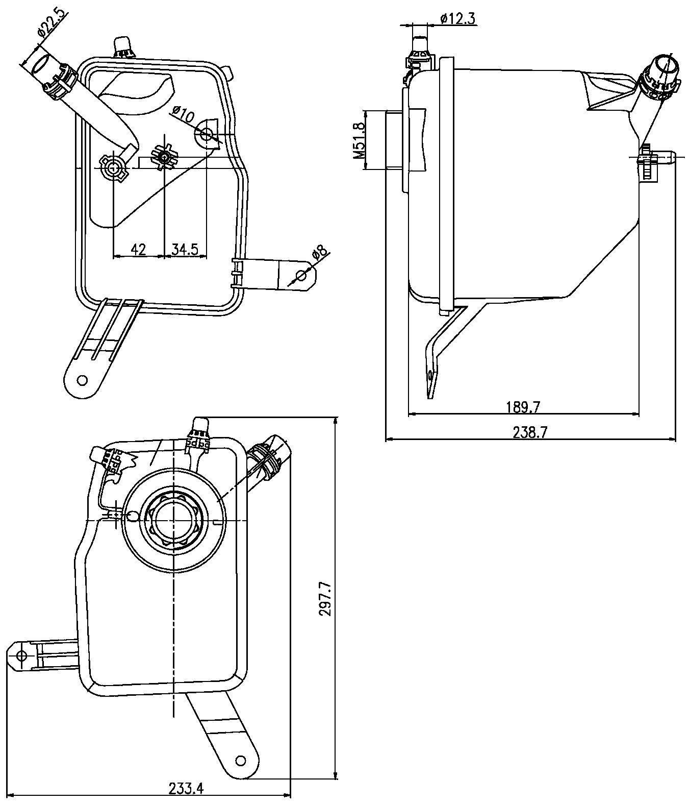 2004 BMW 545i Engine Coolant Reservoir (Hella 376789731)