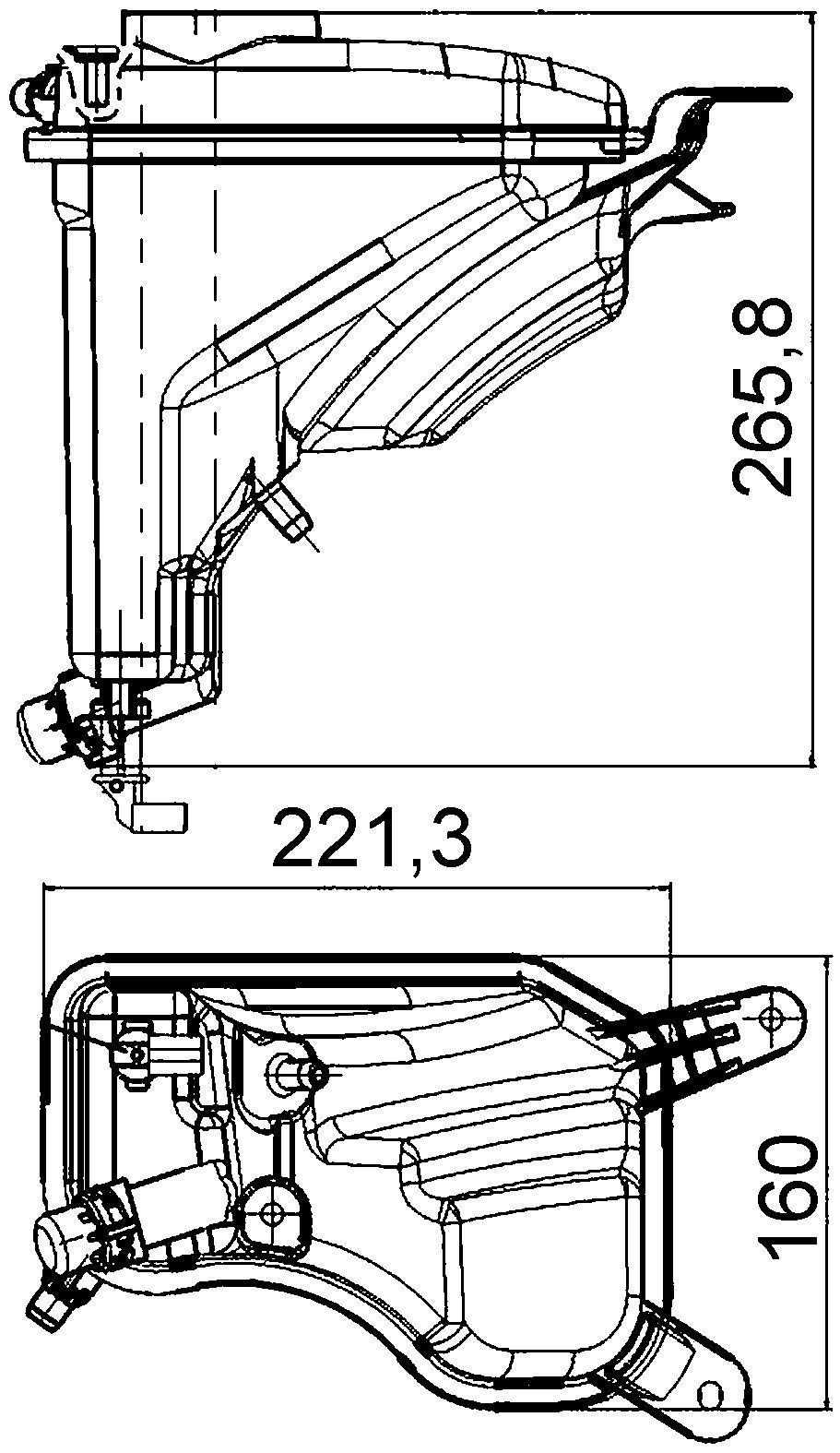 2008 BMW 135i Engine Coolant Reservoir (Hella 376789751) 221x266x160 .