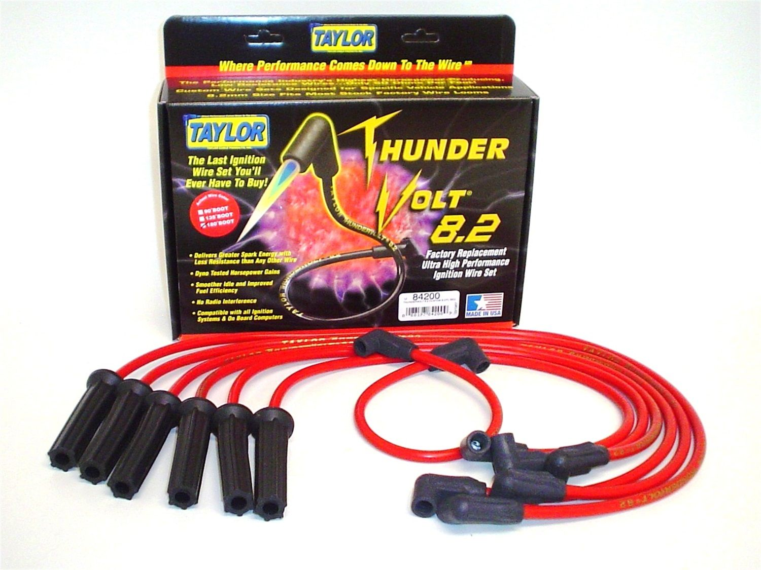 Taylor Spark Plug Wire Set 74600; Spiro Pro 8mm Blue for Chevy 6 Cylinder